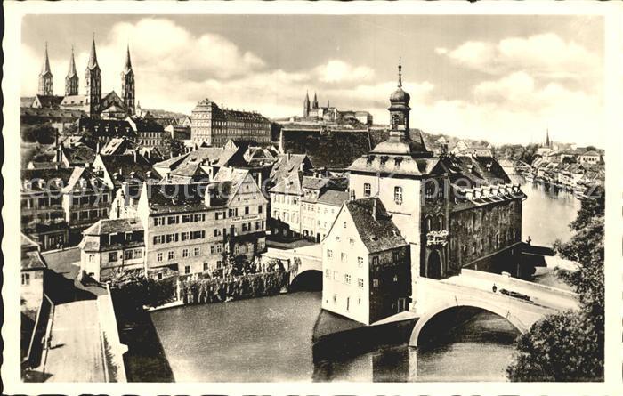 Bamberg Altstadt mit Bamberger Dom Bruecke Kat. Bamberg
