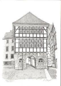 Hattingen Ruhr Altes Rathaus Zeichnung Kat. Hattingen