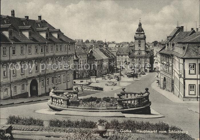 Gotha Thueringen Hauptmarkt vom Schlossberg Kat. Gotha