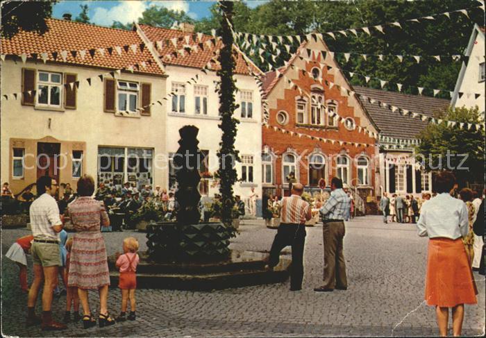 Tecklenburg Marktplatz Brunnen Fest Teutoburger Wald Kat. Tecklenburg
