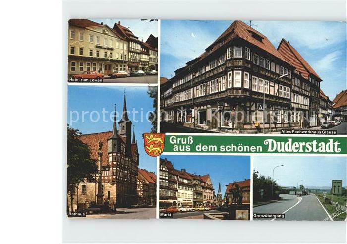 Duderstadt Hotel zum Loewen Rathaus Altes Fachwerkhaus Glaese Markt Grenzuebergang Kat. Duderstadt
