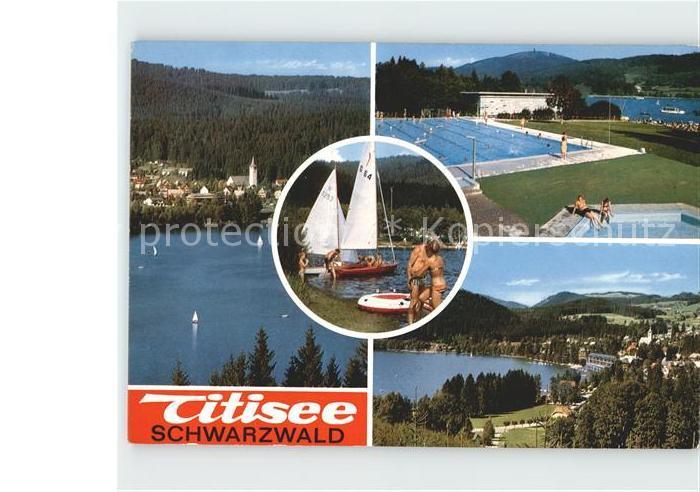 Titisee Neustadt Seepanorama Segelboote Schwimmbad Kat. Titisee Neustadt