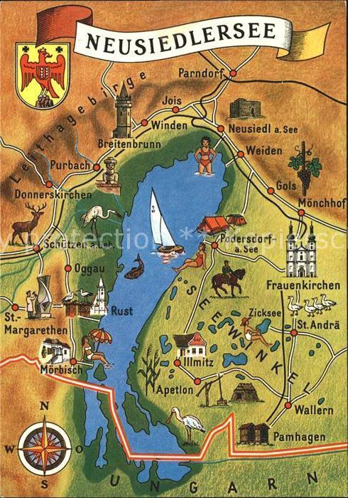Moerbisch See Neusiedlersee Und Umgebung Landkarte Kat Moerbisch Am