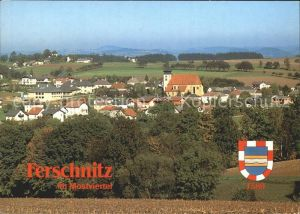 Ferschnitz Ortsansicht mit Kirche Wappen Kat. Ferschnitz