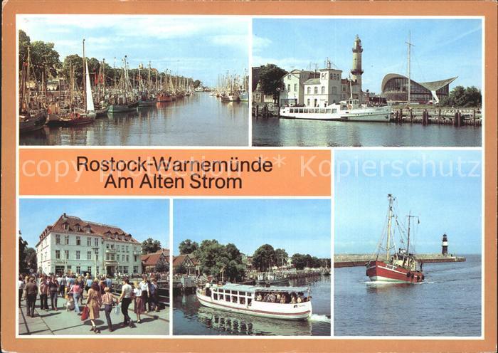 Warnemuende Ostseebad Am Alten Strom Leuchtturm Teepott FDGB Erholungsheim Fahrgastschiff Weisse Flotte Fischkutter Kat. Rostock
