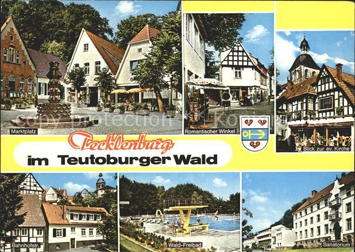 Tecklenburg Marktplatz Brunnen Fachwerkhaus Kirche Sanatorium Waldfreibad Bahnhofstrasse Kat. Tecklenburg