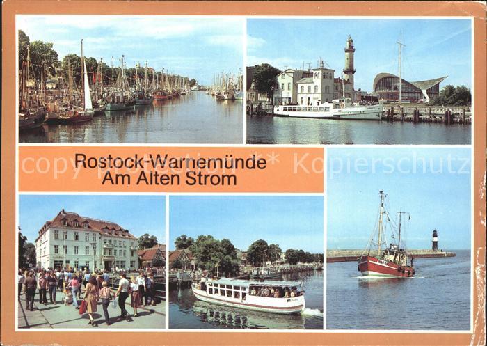 Warnemuende Ostseebad Alter Strom Leuchtturm Teepott FDGB Erholungsheim Fahrgastschiff Weisse Flotte Fischkutter Mole Kat. Rostock