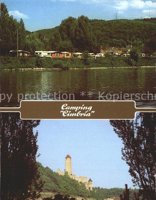 Neckarzimmern Campingplatz Cimbria am Neckar Burg Hornberg Kat. Neckarzimmern