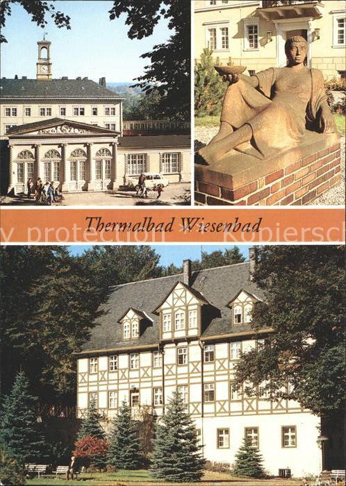 Wiesenbad Kurgebaeude Skulptur im Park Kat. Thermalbad Wiesenbad