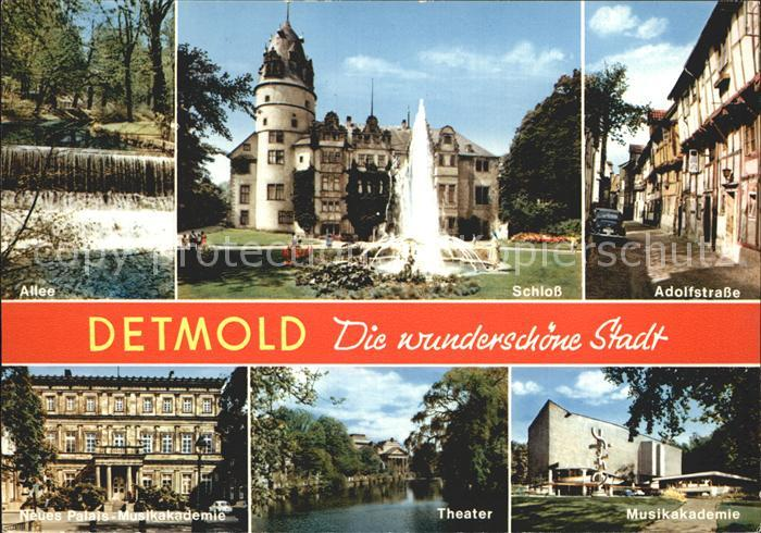 Detmold Adolfstrasse Musikakademie Schloss Allee Neues Palais Theater Kat. Detmold