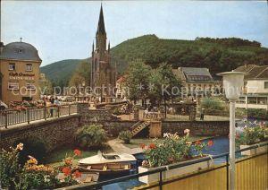 Gemuend Eifel Zusammenfluss von Olef und Urft Bruecke Kirche Cafe Kat. Schleiden