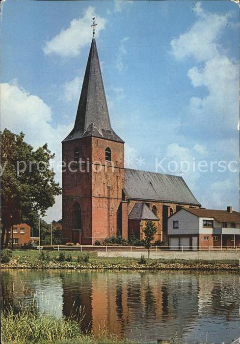 Steinbild Uferpartie an der Ems Kirche Kat. Kluse