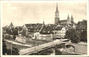 Ulm Donau Teilansicht mit Bruecke und Muenster Kat. Ulm