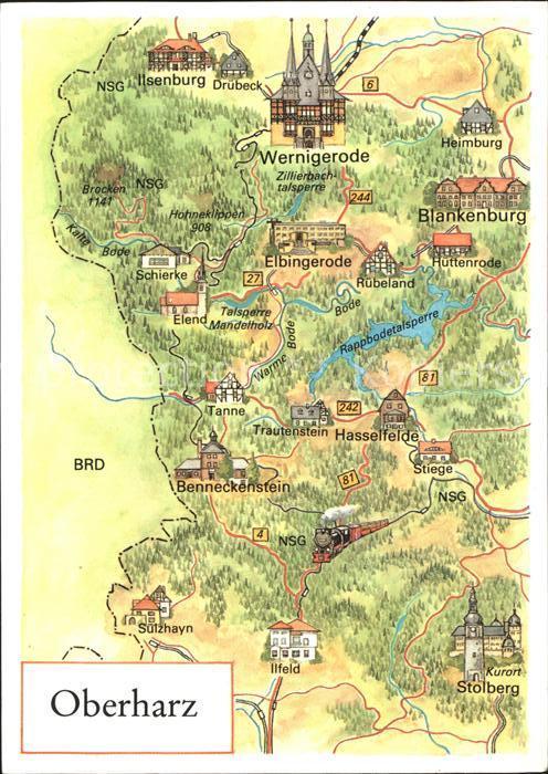 Wernigerode Harz Landkarte Oberharz Kat Wernigerode Nr Kg69957