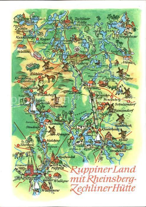 Neuruppin Panoramakarte Lindow Rheinsberg Wallitz  Kat. Neuruppin
