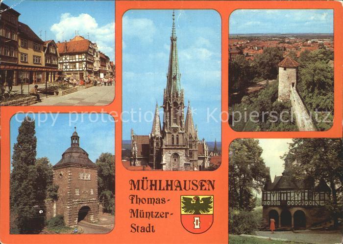Muehlhausen Thueringen Steinweg Marienkirche Stadtmauer  Kat. Muehlhausen Thueringen
