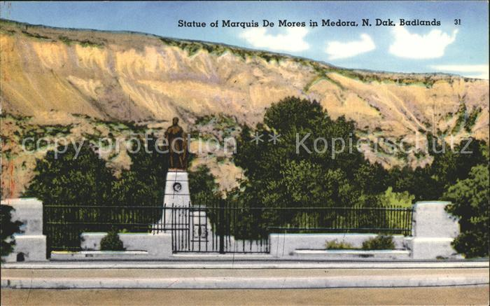 Medora North Dakota Statue of Marquis De Mores Kat. Medora