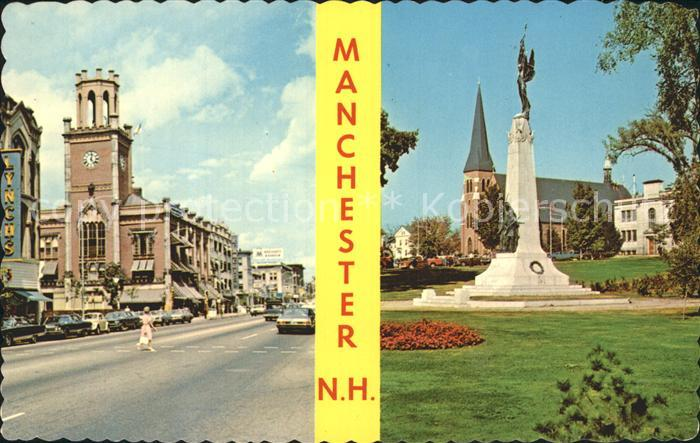 Manchester New Hampshire Elm Street City Hall Victory Park Monument Church Kat. Manchester