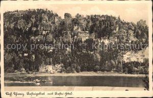 Rathen Saechsische Schweiz Basteigebiet mit Bastei Hotel Elbe Felsen Elbsandsteingebirge Kat. Rathen Sachsen