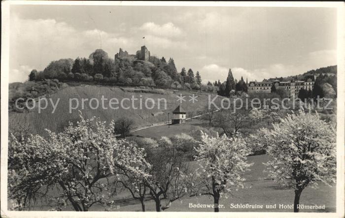 Badenweiler Schlossruine und Hotel Roemerbad Baumbluete Kat. Badenweiler