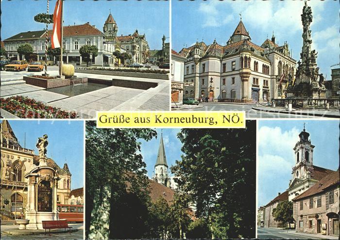 Korneuburg Hauptplatz Rathaus Dreifaltigkeitssaeule Rattenfaenger Pfarrkirche Klosterkirche Kat. Korneuburg
