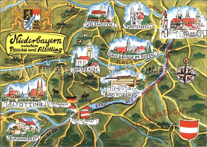 Passau Niederbayern zwischen Passau und Altoetting Kat. Passau