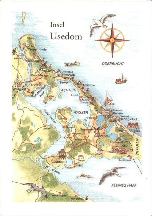 Insel Usedom Karte.Usedom Karte Der Insel Kat Usedom