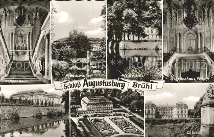 Bruehl Rheinland Schloss Augustusburg Moenchweiher Treppenhaus Schlossgraben Kat. Bruehl