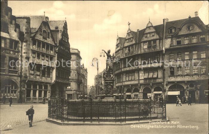 Frankfurt Main Gerechtigkeitsbrunnen Roemerberg Kat. Frankfurt am Main