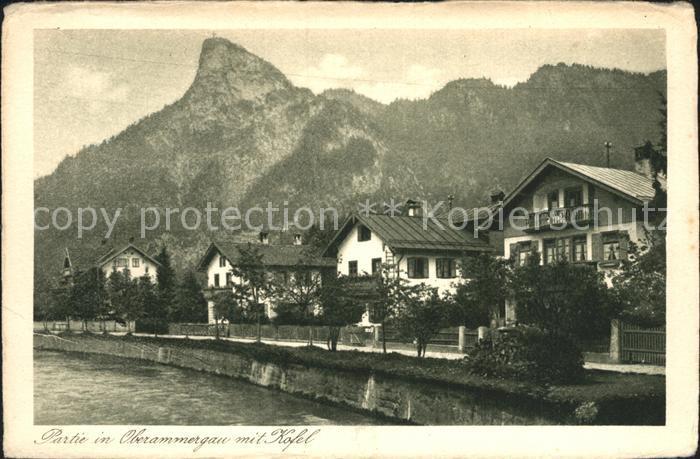 Oberammergau Partie am Fluss mit Kofel Kat. Oberammergau
