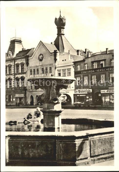 Leitmeritz Litomerice Nordboehmen Marktplatz Brunnen Kelchhaus Kat. Litomerice