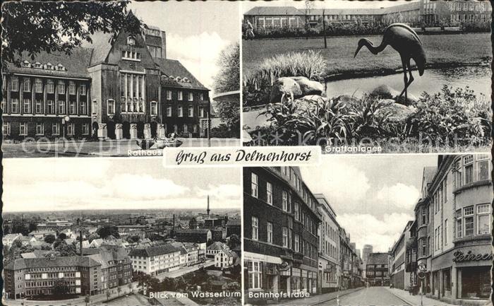 Delmenhorst Rathaus Graftanlagen Blick vom Wasserturm Bahnhofstrase Kat. Delmenhorst