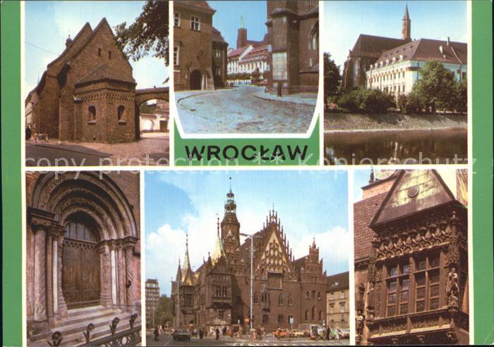 Wroclaw Ostrow Tumski katedralnego Barokowy klasztor Sw Wincentego Romanski portal Ratusz Fasada wschodnia Kat. Wroclaw Breslau