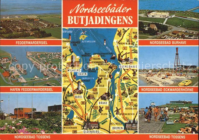 Butjadingen Nordseebaeder Fedderwardersiel Burhave Eckwarderhoehe Tossens uebersichtskarte Kat. Butjadingen