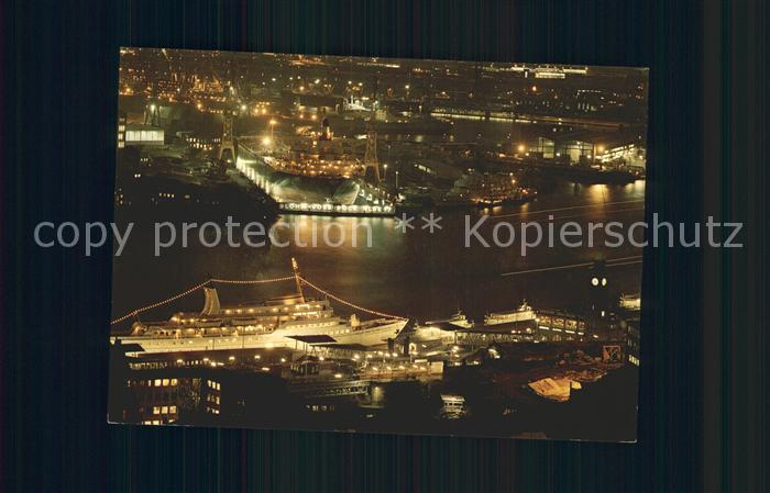 Hamburg St Pauli Landungsbruecken bei Nacht Kat. Hamburg