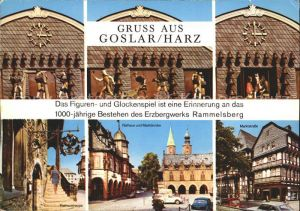 Goslar Das Figuren  und Glockenspiel Rathaus Marktkirche Rathaustreppe Kat. Goslar