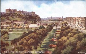 Edinburgh Castle and Princess Street Kat. Edinburgh