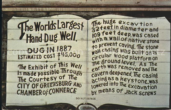Greensburg Kansas The World Largest Hand Dug Well Kat. Greensburg