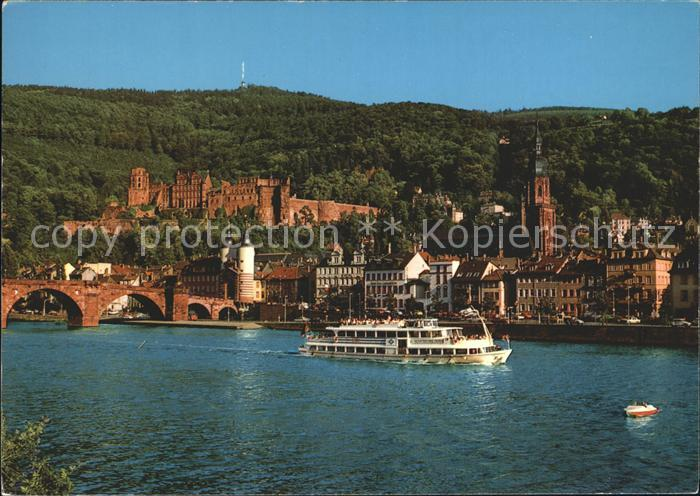 Heidelberg Neckar Partie am Neckar Fahrgastschiff Kat. Heidelberg