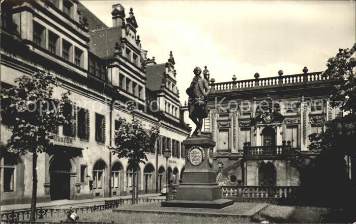 Leipzig Naschmarkt mit Goethe Denkmal Kat. Leipzig