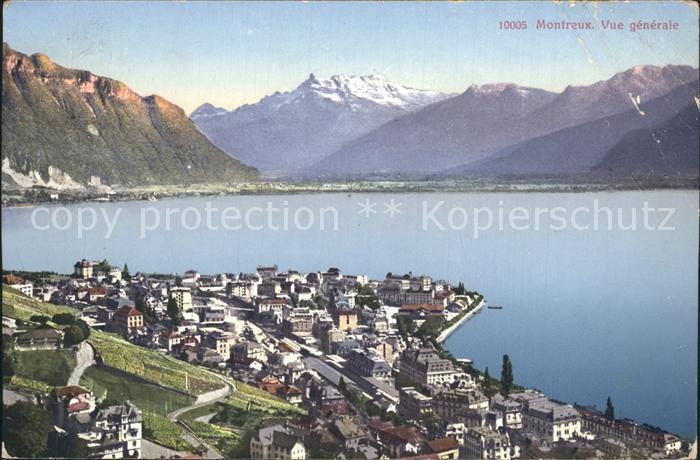 Montreux VD Vue generale Lac Leman Dents du Midi Alpes Kat. Montreux