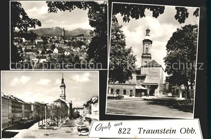 Traunstein Oberbayern Gesamtansicht Alpenblick Kirche Platz Kat. Traunstein