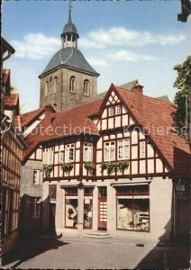Tecklenburg Ortspartie mit Kirchturm Kat. Tecklenburg