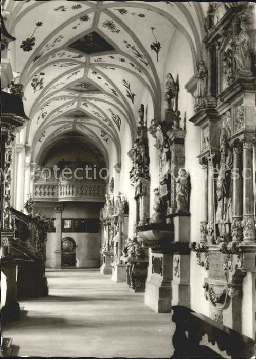 Bamberg St Michaelskirche Seitengang mit Grabmaelern der Bamberger Bischoefe Kat. Bamberg