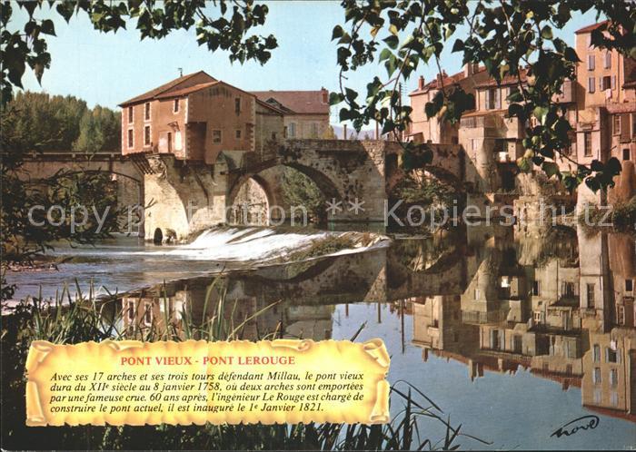 Millau Aveyron Capitale des Causses Le vieux moulin sur le Tarn Kat. Millau