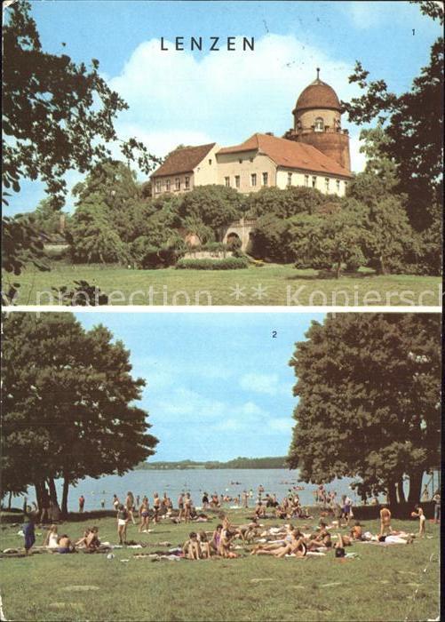 Lenzen Elbe Burg mit Rudower See Kat. Lenzen Elbe