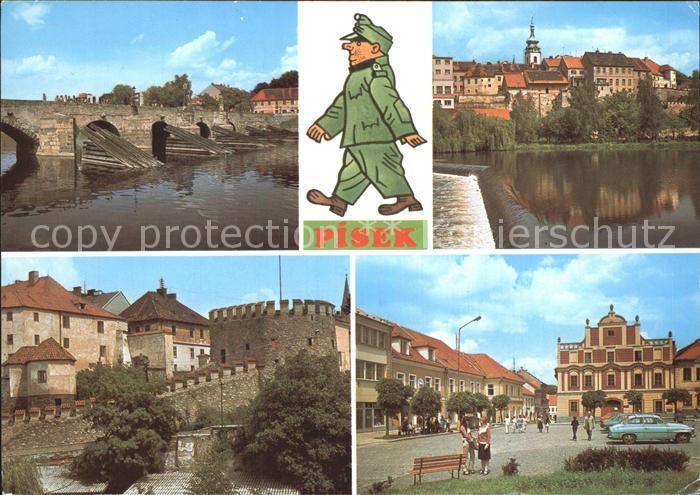 Pisek Steinbruecke Stadtmauer Kat. Pisek
