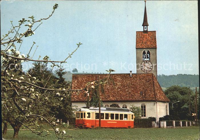 Waldenburg BL Strassenbahm mit Kirche St. Peter Kat. Waldenburg