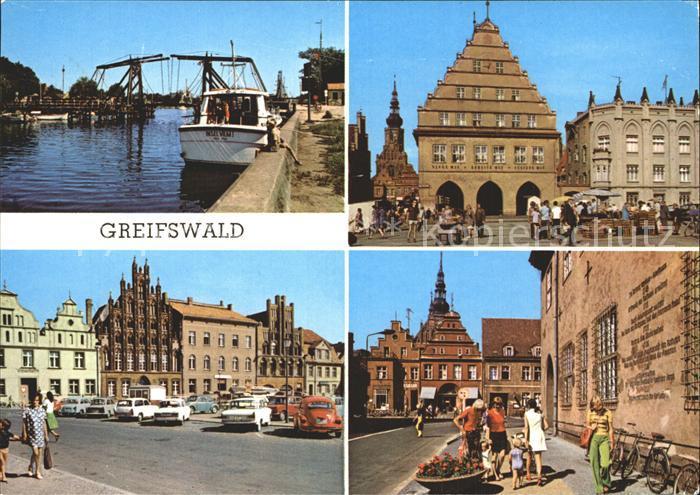 Greifswald Mecklenburg Vorpommern Wieker Bruecke Rathaus Markt Platz der Freundschaft Kat. Greifswald