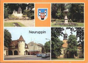 Neuruppin Fontanedenkmal Tempelgarten Bahnhof Rheinsberger Tor  Kat. Neuruppin